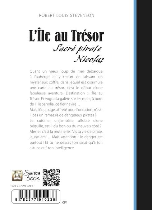 roman personnalisé couverture Ile au Trésor résumé dos